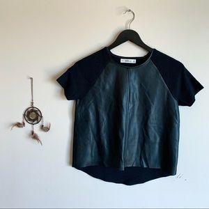 Zara Knit + Leather Black Crop Top